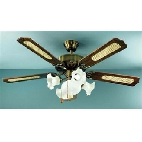 VENTILATEUR MARRON D'OTTONE AVEC KIT LIGHT 7066OB