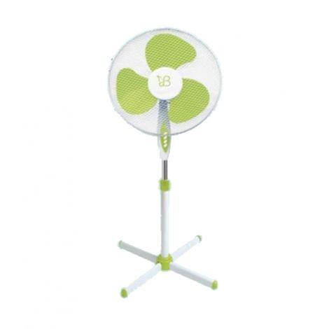 Ventilateur NIKLAS BUTTERFLY sur pied à hauteur réglable jusqu'à 1.30 m - Diamètre 40 cm - 3 réglages de vitesse Oscillation - blanc / vert