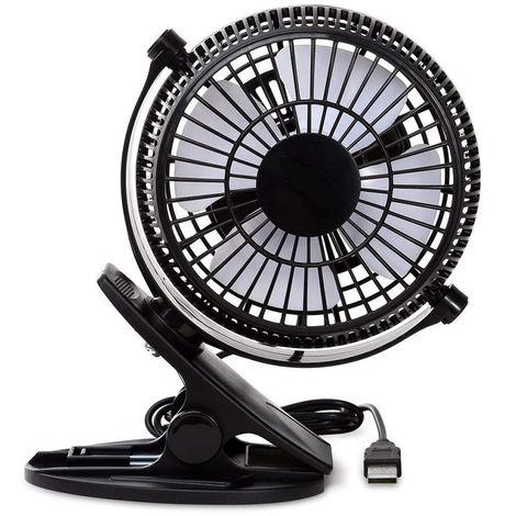 Ventilateur personnel de bureau à clip USB, ventilateurs de table, ventilateur à clip, application 2 en 1, vent fort, mini ventilateur de bureau, petit ventilateur de bureau, ventilateur de refroidissement portable 4 pouces à 2 vitesses USB alimenté par P