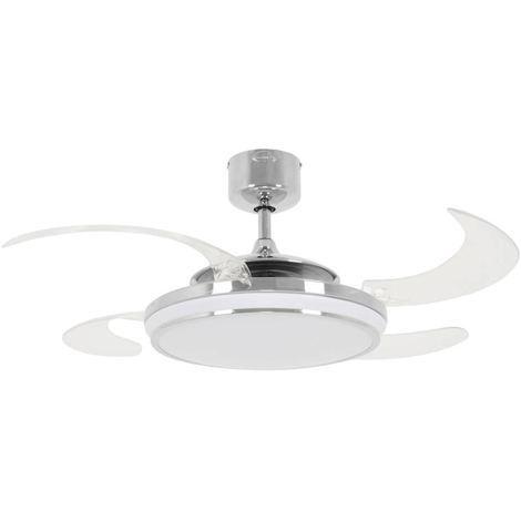 Ventilateur Plafond EVO1 LED Chrome Poli cm 121x42x121 Fanaway 211037