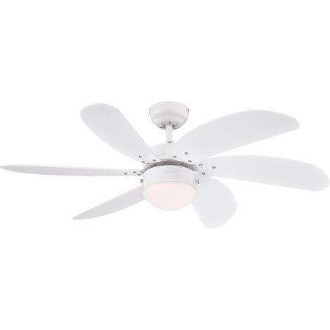 Ventilateur plafond Turbo Swirl blanc avec lumière 105cm