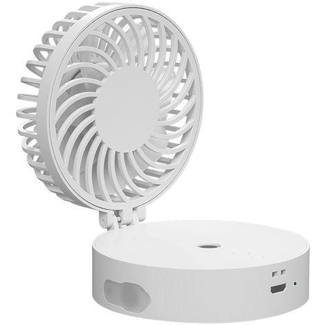 Ventilateur Pliable, Avec Humidificateur De Refroidissement, Veilleuse Coloree, 3 Vitesses, Bleu