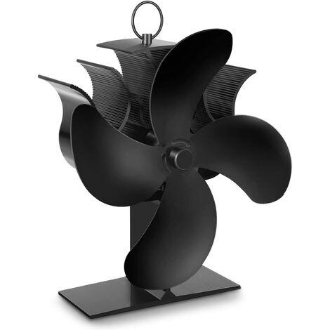 Ventilateur Poêle, 4 Pales Ventilateur à Chaleur avec Thermomètre, Fonctionnement Automatique et Silencieux, Approprié pour Foyer, Cheminée, Foyer à bois et Poêle à bois