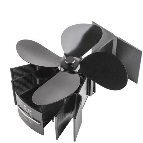 Ventilateur Poêle à 4 Pales, Alimenté par la Chaleur, Fonctionnement Silencieux, Écologique et Efficace, Pour Poêle à Bois/Cheminée, avec Pale de Rechange