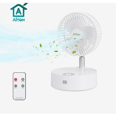 Ventilateur Portable Ventilateur de Table avec Humidificateur Climatiseur Silencieux Mobile Ventilateur Rechargeable Usb Télécommande Pliable Noble Blanc