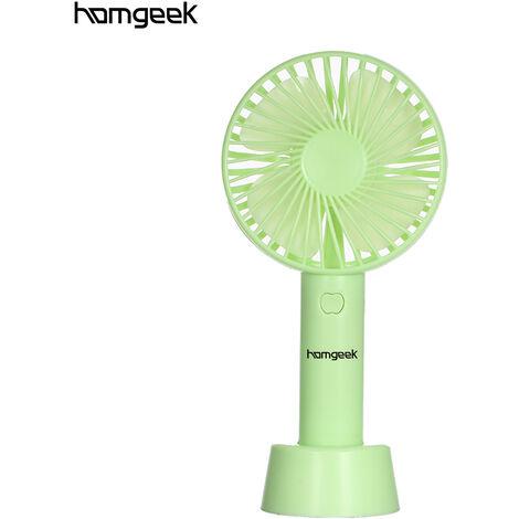 Ventilateur portatif homgeek, vitesse du vent r¨¦glable en 3 vitesses, alimentation par batterie 18650 avec base, livr¨¦ sans batterie