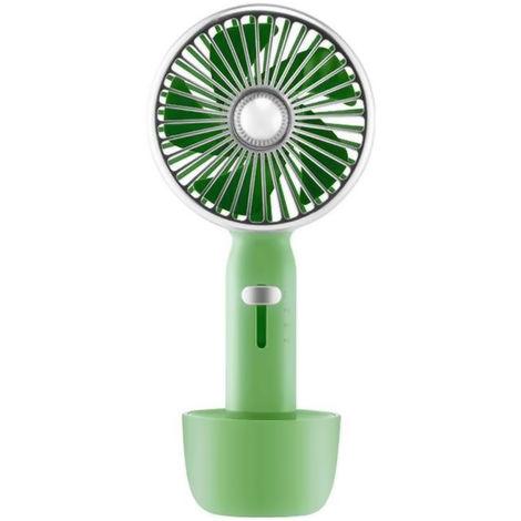 Ventilateur Portatif, Rechargeable Par Usb, 3 Vitesses, 2000Mah, Vert