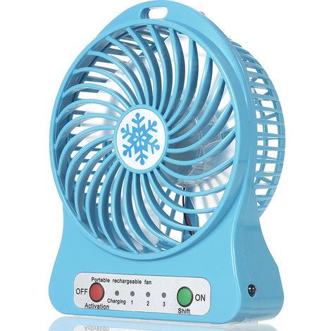 Ventilateur Rechargeable, Regulation De La Vitesse En 3 Modes, Bleu
