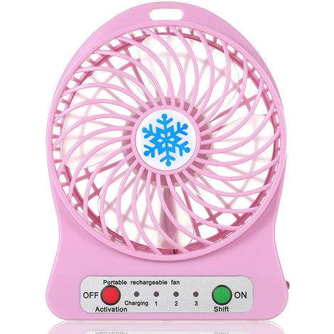 Ventilateur Rechargeable, Regulation De La Vitesse En 3 Modes, Rose