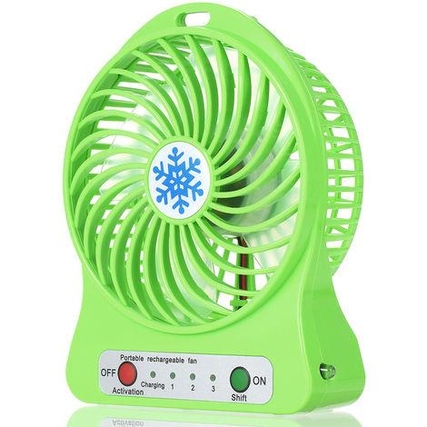 Ventilateur Rechargeable, Regulation De La Vitesse En 3 Modes, Vert
