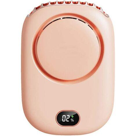 """main image of """"Ventilateur sans Lame licou, Mini ventilateur silencieux à affichage numérique Ventilateur de chargement USB pour bureau à domicile Conduite Voyage 3 vitesses réglables Pink"""""""