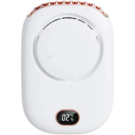 """main image of """"Ventilateur sans Lame licou, Mini ventilateur silencieux à affichage numérique Ventilateur de chargement USB pour bureau à domicile Conduite Voyage 3 vitesses réglables white"""""""