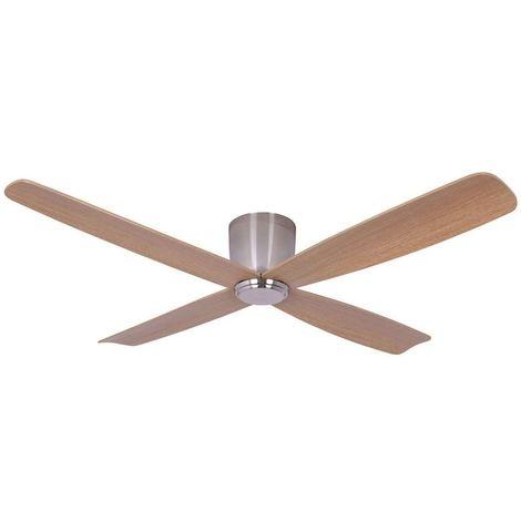 Ventilateur sans lumière Chrome 4 Teak p cm 132x19x132 Lucci Air 210987