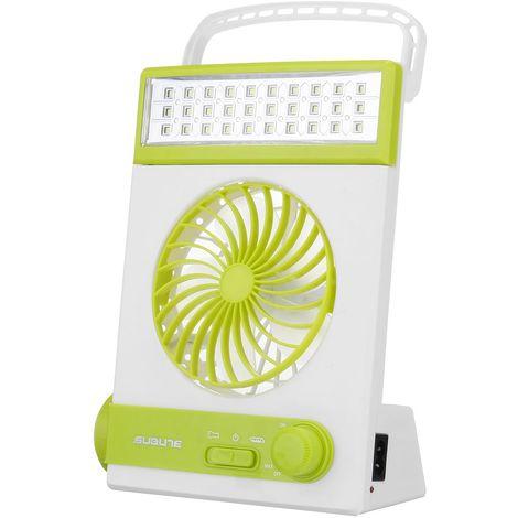 Ventilateur solaire portable Ventilateur de refroidissement LED Lumière Refroidisseur de camping Ventilateur rechargeable
