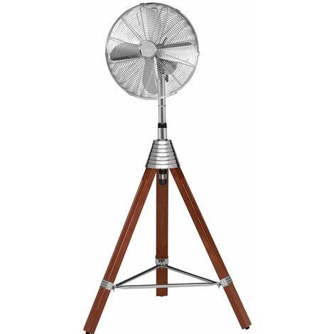 Ventilateur sur pied avec trépied en bois pour le ménage