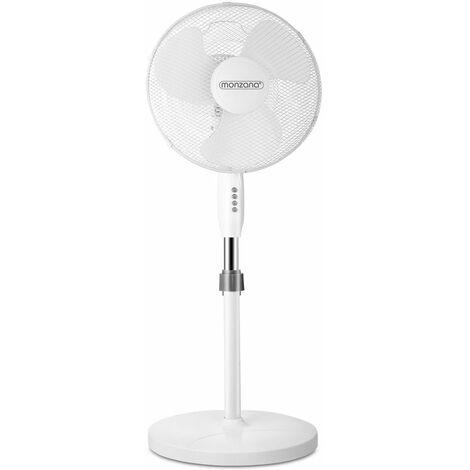 Ventilateur sur pied blanc oscillant rotatif 90° avec 3 vitesses Ø 40 cm Hauteur réglable