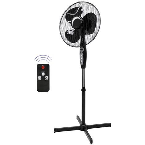 Ventilateur sur pied noir avec télécommande fonction minuterie hauteur réglable