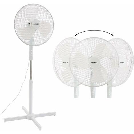 Ventilateur sur pied Refroidisseur d'air Unité de refroidissement 45 W Blanc - blanc