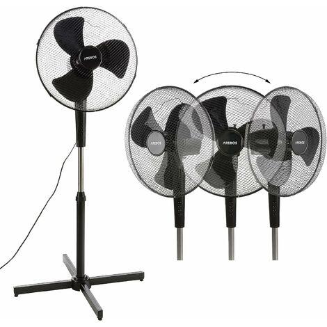 Ventilateur sur pied Refroidisseur d'air Unité de refroidissement 45 W Noir