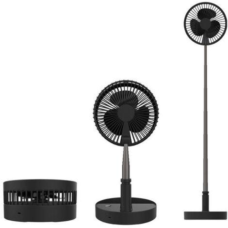 Ventilateur sur Pied Sans Fil USB - Silencieux 4 Vitesses - Pliable & Télescopique 35 à 100cm - Noir
