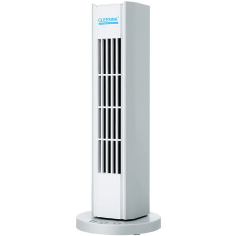 Ventilateur Tour Colonne Silencieux Niveaux de Vitesse Sans Lames Oscillation à 60°pour Chambre,Bureau 13.5*13.5*35.1cm blanc