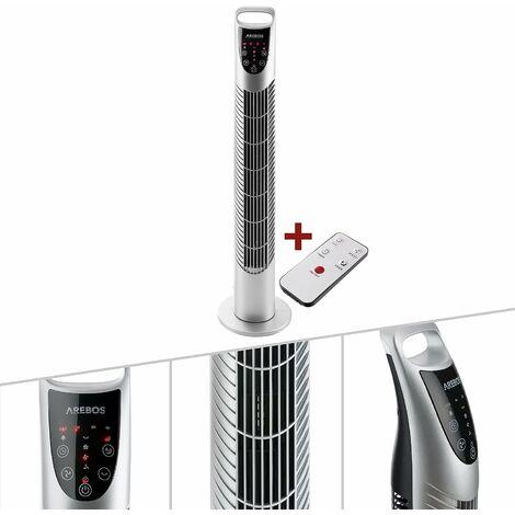 Ventilateur tour de 40 W avec télécommande argenté