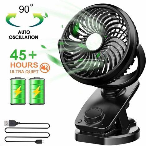 Ventilateur USB, Mini Ventilateur à Pile avec Rechargeable Batterie 5000 mAh, Ventilateur pc avec 4 Vitesses du Vent, Rotation De 360 ° par Air pour Bébé Poussette,Camping,Bureau,Voiture