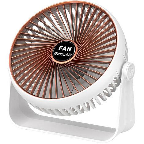 Ventilateur USB, mini ventilateur Ventilateur de bureau USB, petit ventilateur, 3 vitesses, double réglage 360°, ventilateur USB pour bureau, maison et extérieur (plaqué or + modèle rechargeable avec batterie)