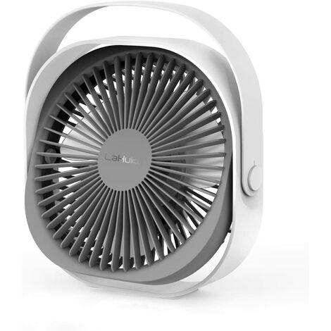 Ventilateur USB, Ventilateur de Table, Ventilateur Rechargeable Ventilateur Silencieux Personnel Portable 360 ° Réglable 3 Modes Ventilateur de Bureaux avec Poignée pour Bureau Chambre Voyage