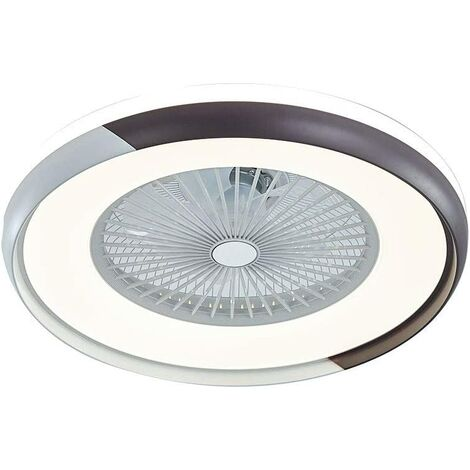 Ventilateurs de Plafond avec Lampe Intégrée 23'' Lustre de Ventilateur SYF-C007 avec 3 Vitesses Réglables Blanc et Noir