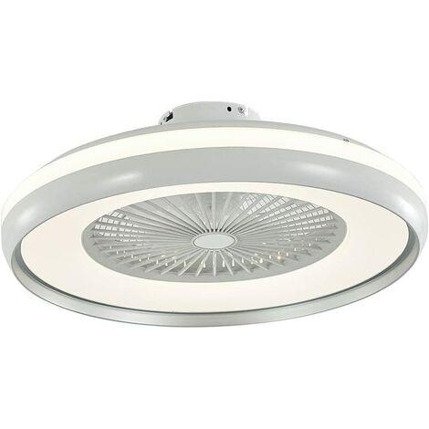 Ventilateurs de Plafond avec Lampe Intégrée 23'' Lustre de Ventilateur SYF-C007 avec 3 Vitesses Réglables Gris et Blanc