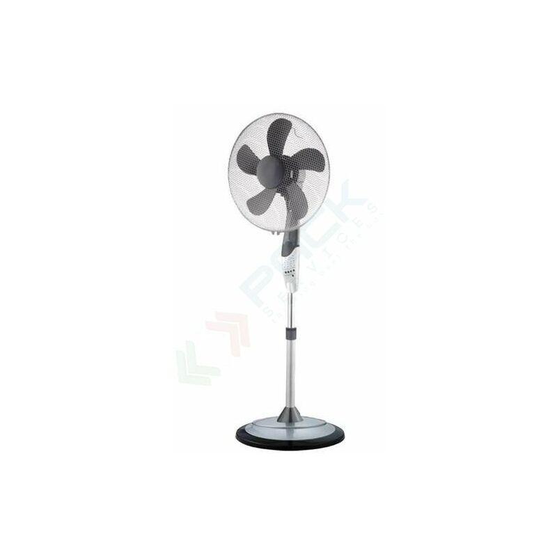 Ventilatore a piantana cromato con oscillazione automatica, 5 pale, 3 velocità, telecomando incluso VINC