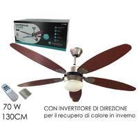 Ventilatore a soffitto Ø 130cm 5 pale con telecomando LUCE Reversibile 70W Legno