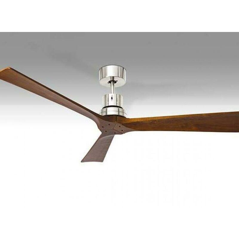Ventilatore da soffitto 3 pale in metallo diametro 130cm finitura in cromo spazzolato colore legno 7142cr