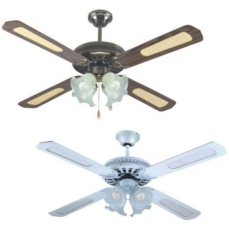 Ventilatore da soffitto 4 pale 130cm bianco con luce