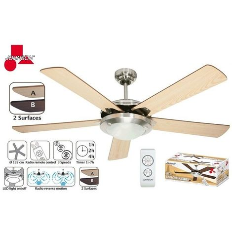 Ventilatore Da Soffitto Luce Led 5 Pale Legno 132 Cm Revers Telecomando 60w