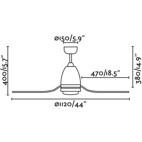 Ventilatore per soffitto con luce led cm 40X112X112 FARO 33469