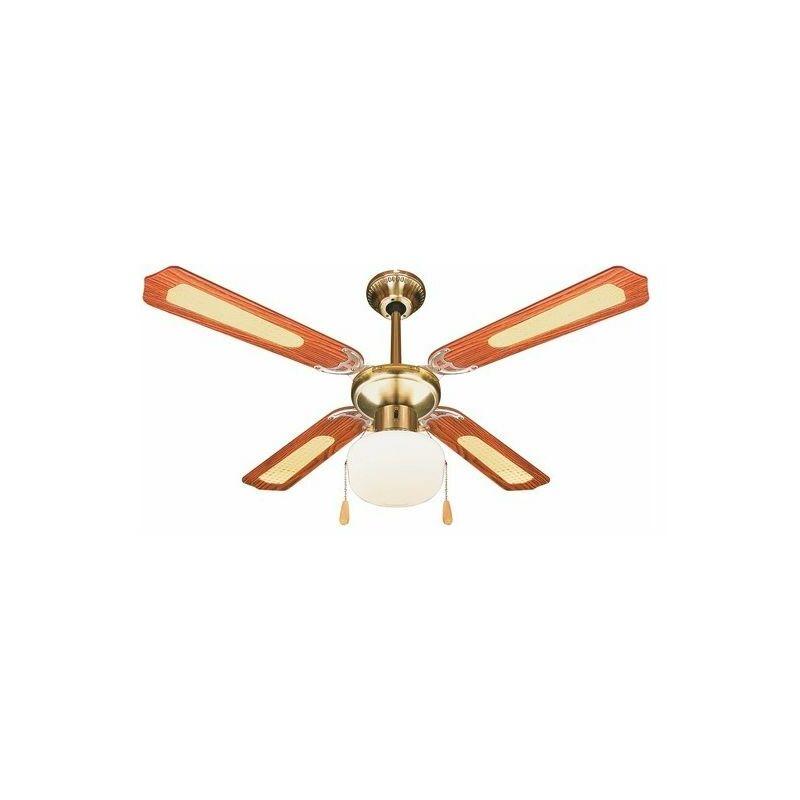 Ventilatore Soffitto 4 Pale D106 Cm 60W Marrone Windy - KOOPER