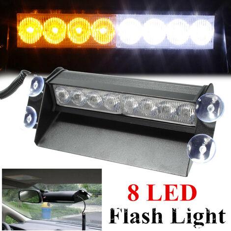 Ventosa universal para lámpara estroboscópica de 8 LED, color blanco y amp;Parabrisas ámbar
