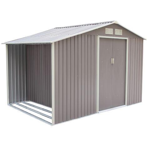 Ventoux 8.72 m² : abri de jardin avec abri bûches en acier anti-corrosion gris