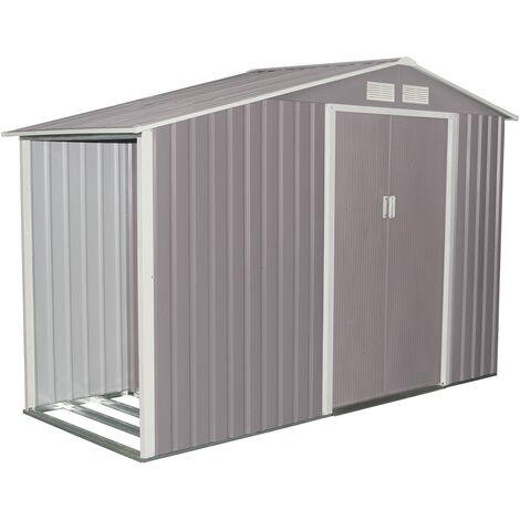 """main image of """"Ventoux de 5,31 m²: caseta de jardín de acero anticorrosión gris con leñera techada"""""""
