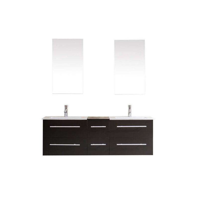 VENUS WENGE: ENSEMBLE SALLE DE BAIN meuble + 2 vasques + 2 miroirs
