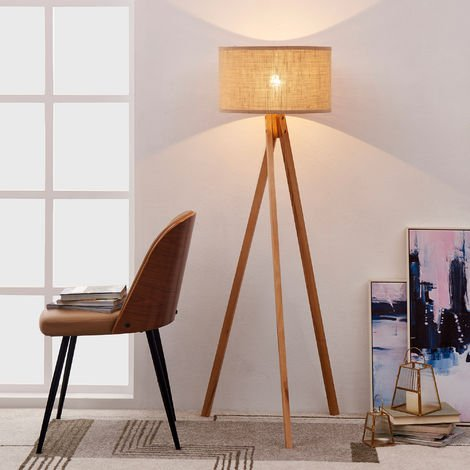 Ver+N372:N427sanora Wooden Tripod Floor Lamp With Khaki Linen Fabric Shade, Wood Finish TH-L00004-UK