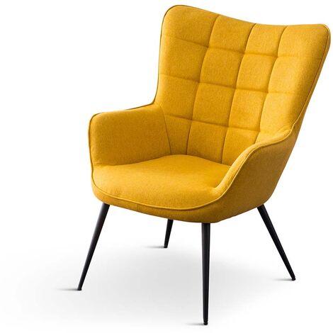 Vera Linen / Velvet Occasional Lounge Living Room Accent Chair Armchair Metal Legs w Stool