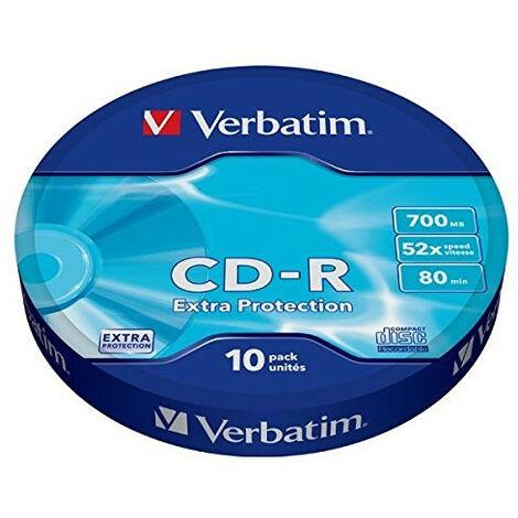 Verbatim CD-R 52X 700MB 10PK OPS Wrap EP - CD-R - 700 Mo - 10 pièce(s) - 120 mm - 52x - Fuseau (43725)