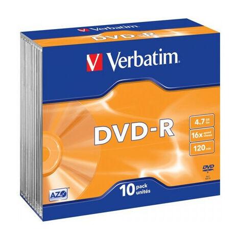 Verbatim DVD-R 16x, 10 pièces en slimcase (43655)