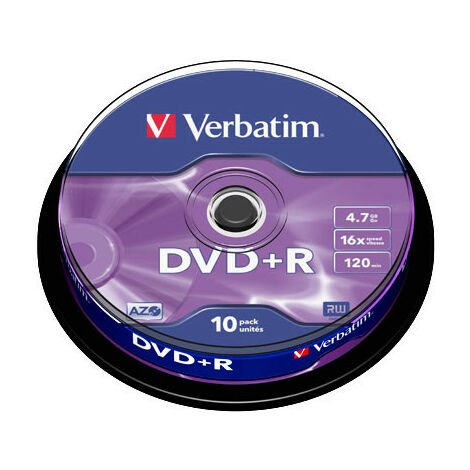 Verbatim DVD+R 16x certifié, 10 pièces en cake box (43498)