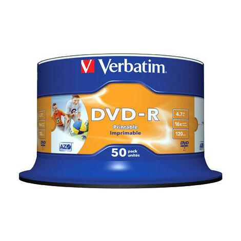 Verbatim DVD-R imprimable 16x certifié, 50 pièces en cake box (43533)