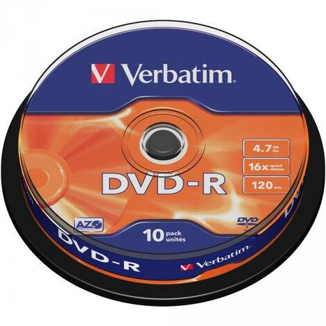 Verbatim DVD-R Matt Silver, 16x certifié, 10 pièces en cake box (43523)