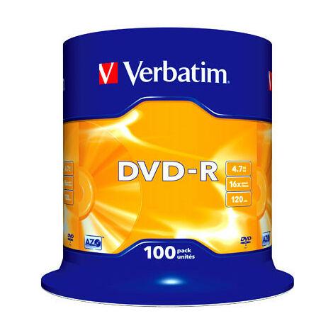 Verbatim DVD-R Matt Silver, 16x certifié, 100 pièces en cake box (43549)